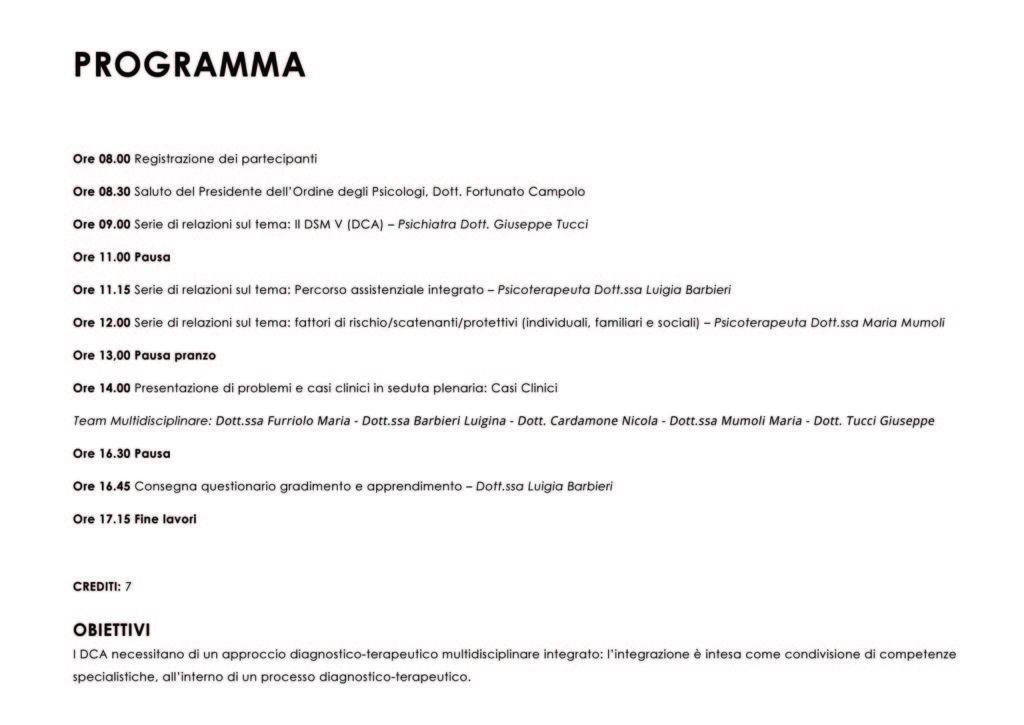 DCA Psicologi Calabria Programma