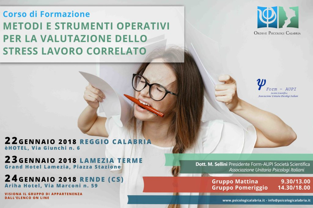 Formazione Calabria Psicologi Stress Lavoro Correlato